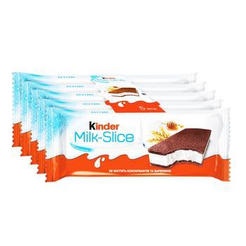 Тістечко Kinder Milk Slice бісквітне з молочною начинкою 5шт 28г - купити, ціни на Ашан - фото 1