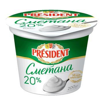 Сметана Президент 20% 200г - купить, цены на Фуршет - фото 1