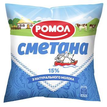 Сметана Ромол 15% 380г - buy, prices for Auchan - photo 1