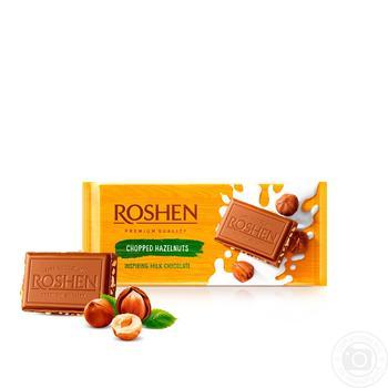 Шоколад Roshen Classic молочный с измельченными лесными орехами 90г - купить, цены на Novus - фото 1