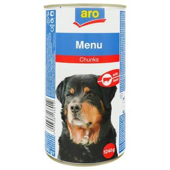 Корм Aro консервований з яловичиною для собак 1240г - купити, ціни на Метро - фото 1