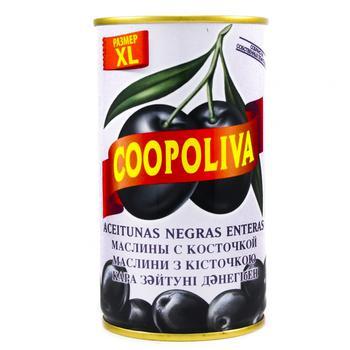 Маслины Coopoliva черные с косточкой 350г - купить, цены на Таврия В - фото 1