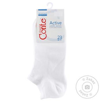 Шкарпетки жіночі Conte Elegant Active короткі білі розмір 23
