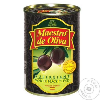 Маслини Maestro de Oliva Супергігант з/к ж/б 425г - купити, ціни на Novus - фото 1