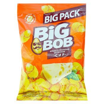 Арахис Big Bob жареный соленый в хрустящей оболочке со вкусом Сыр 90г - купить, цены на Фуршет - фото 1