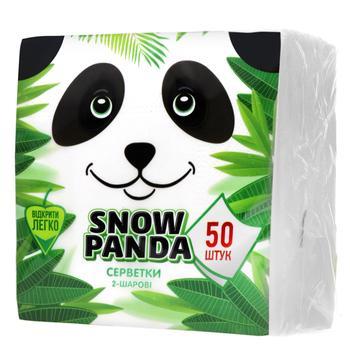 Салфетки Снежная Панда белые столовые двухслойные 50шт