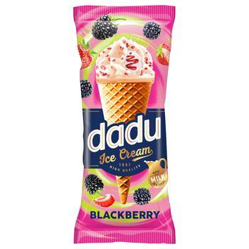 Мороженое Dadu Ванильное с ежевикой в глазури рожок 150мл