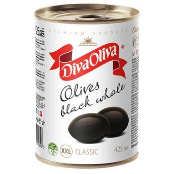 Маслины Дива Олива ХХL отборные черные с косточкой 425мл