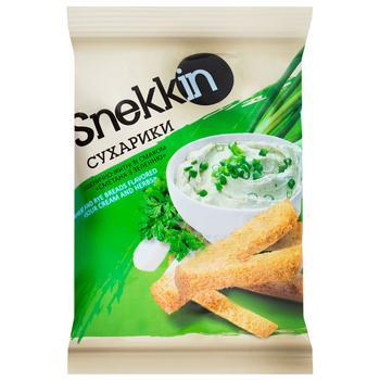Сухарики Snekkin пшенично-ржаные со вкусом сметана с зеленью 70г - купить, цены на Ашан - фото 1
