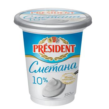 President sour cream 10% 350g - buy, prices for Auchan - photo 1