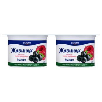 Йогурт Живинка Малина-чорна смородина 1,5% 115гх4шт - купити, ціни на Метро - фото 1