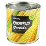 Кукурудза Novus цукрова стерилізована консервована з/б 340г