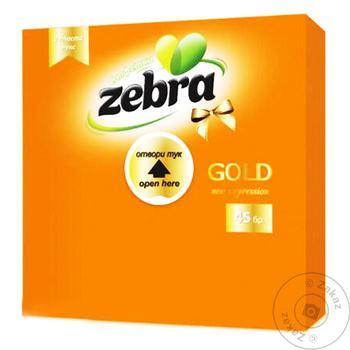 Салфетки оранжевые Zebra gold двухслойные 45шт - купить, цены на Таврия В - фото 1