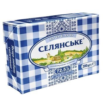 Масло Селянське солодковершкове 72,5% 200г - купити, ціни на Novus - фото 1