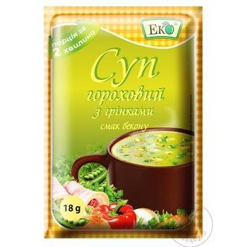 Суп Эко гороховый с гренками и беконом 18г - купить, цены на Фуршет - фото 1
