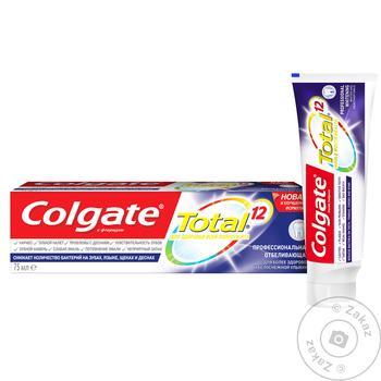 Зубная паста Colgate Total 12 Профессиональная Отбеливающая комплексная антибактериальная 75мл - купить, цены на Novus - фото 3