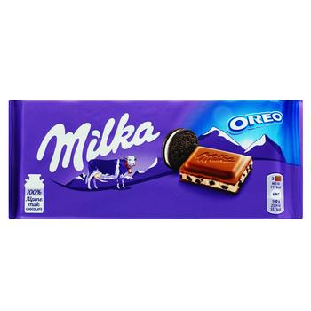 Milka Milk Chocolate with Cream Filling and Oreo Biscuit Pieces 100g