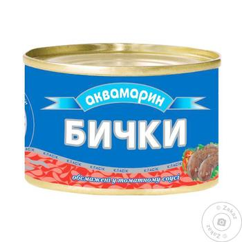 Бички Аквамарин обжаренные в томатном соусе 230г - купить, цены на Фуршет - фото 1