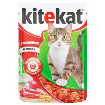 Корм для взрослых котов Kitekat с говядиной в желе 100г - купить, цены на Фуршет - фото 2
