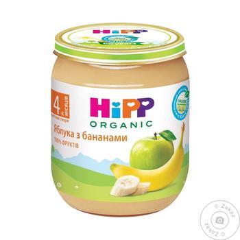 Пюре ХиПП Яблоки с бананами без сахара для детей с 4 месяцев 125г - купить, цены на Ашан - фото 1