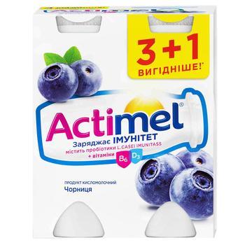 Продукт кисломолочный Danone Actimel черника 1,5% 4шт*100г - купить, цены на Метро - фото 1