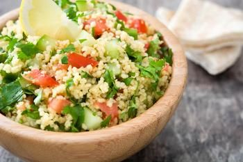 Salad with couscous, tomatoes and feta cheese