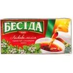 Черный чай Беседа Ласковая Мелисса с листочками мелиссы в пакетиках 26х1.5г Россия