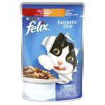 Корм для котів Felix Fantastic Duo з яловичиною та птицею в желе 100г - купити, ціни на CітіМаркет - фото 1