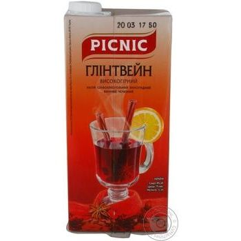 Напиток винный Пикник Глинтвейн высокогорный виноградный красный 7% 1л - купить, цены на Ашан - фото 1