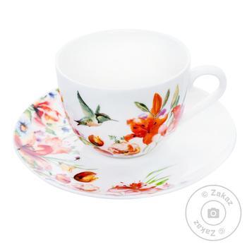 Чашка 230мл з блюдцем 15,2см Colibri Krauff - купить, цены на Novus - фото 1