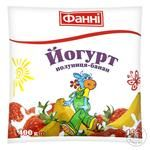 Йогурт Фанни Клубника-Банан 1% 400г