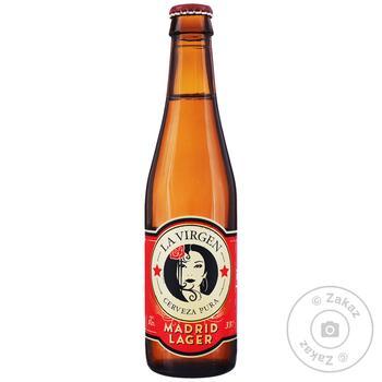 Пиво La Virgen Madrid Lager светлое непастеризованное 5,2% 0,33л - купить, цены на Novus - фото 1