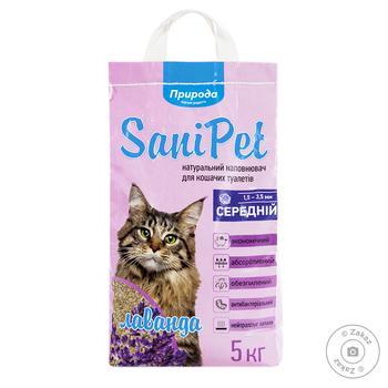 Наповнювач гігієнічний Природа Sani Pet для котів з лавандою бентонітовий середній 5кг