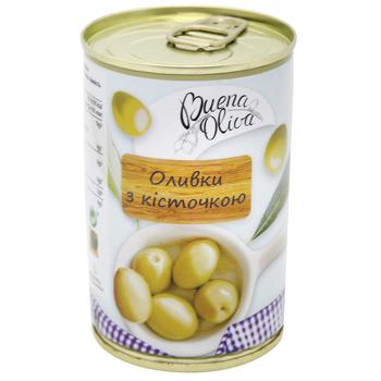 Оливки зелені Buena Oliva з кісточкою 314мл - купити, ціни на Фуршет - фото 1