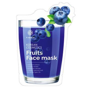 Маска для обличчя Fabrik Cosmetology Fruits Face Зволожувальна з екстрактом чорниці біоцелюлозна 30г