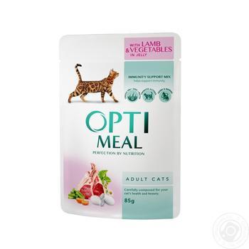 Корм Optimeal для взрослых кошек с ягненком и овощами в желе 85г - купить, цены на Ашан - фото 1