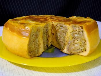 Пиріг із лаваша з фаршем у мультиварці