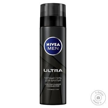 Гель для бритья Nivea Men Ultra черный с активным углем 200мл - купить, цены на Novus - фото 1