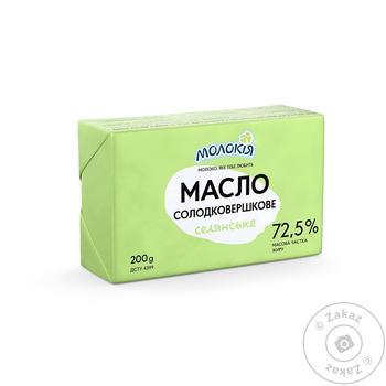 Масло Молокія Селянське солодковершкове еколін 72.5% 200г - купити, ціни на Фуршет - фото 1
