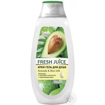 Крем-гель для душа Fresh Juice Авокадо и рисовое молочко 400мл - купить, цены на Ашан - фото 1