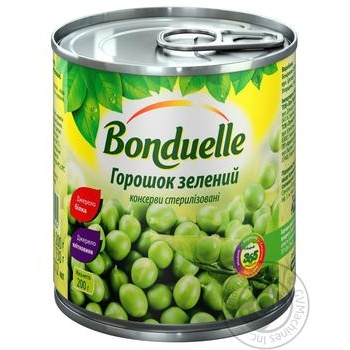 Горошок Бондюель зелений консервований 212мл - купити, ціни на Novus - фото 1
