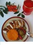 """Запеченная курица с травами, тыквенным крем-брюле и овощами """"Осенняя рапсодия"""""""