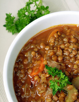 Суп из чечевицы и грибов