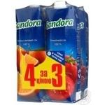 Набір акційний 3+1 Sandora апельсин,мультивитамін,томат,вишня 1л