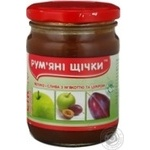 Juice Rumyanye shchechki apple-plum for children 250g glass jar Ukraine