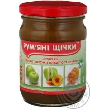 Сок Румяные щечки яблоко-персик для детей 250г стеклянная банка Украина