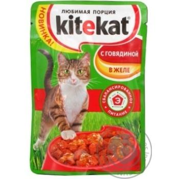 Корм для взрослых котов Kitekat с говядиной в желе 100г - купить, цены на Восторг - фото 3