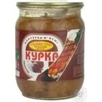 Мясо Смакота курица консервированная 500г стеклянная банка Украина