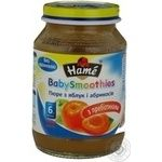 Puree Hame Apple-Apricot without starch wuth prebiotics for 6+ month old babies glass jar 190g Czech Republic