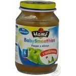 Puree Hame Apple without starch wuth prebiotics for 6+ month old babies glass jar 190g Czech Republic